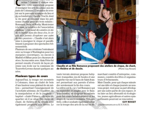 """Article Nice Matin: """"Colomars: la Mus'en scène fait sa rentrée"""""""